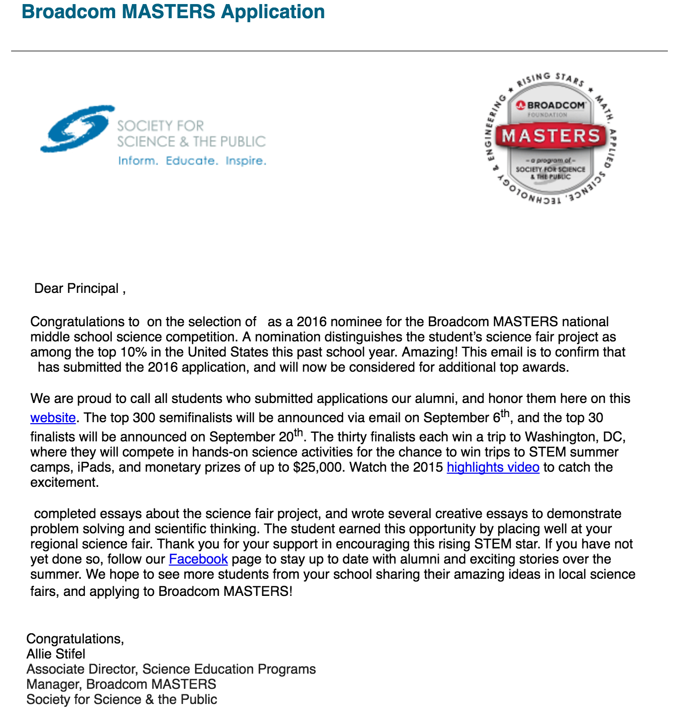 Broadcom MASTERS Application